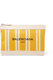 Balenciaga Leather-trimmed striped canvas pouch