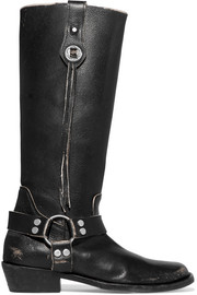 Balenciaga Santiago distressed leather knee boots