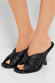 Leather wedge mules