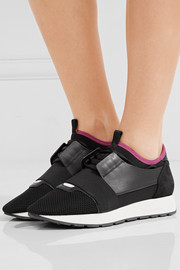 Race Runner leather, mesh and neoprene sneakers