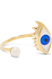 9-karat gold, pearl and enamel ring