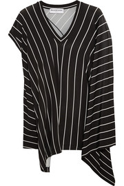Draped striped stretch-jersey top