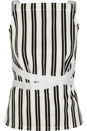 Striped cotton-twill wrap top