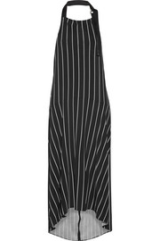 Balenciaga Striped stretch-jersey halterneck midi dress