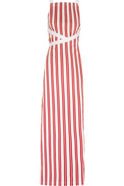 Balenciaga Canvas-trimmed striped cotton maxi dress