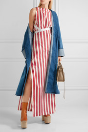 Canvas-trimmed striped cotton maxi dress