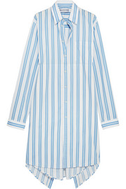 Balenciaga Asymmetric paneled striped cotton shirt dress