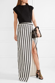 Striped cotton-twill wrap skirt