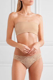 Double Take lace-paneled stretch-jersey bandeau bra