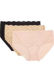 Double Take set of three lace-paneled stretch briefs
