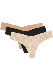 Set of three stretch-jersey thongs