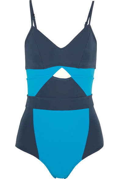 Joellen Cutout Color-block Swimsuit - Teal Flagpole Clearance Low Price Fee Shipping Cheap Store Cheap Online Store Manchester Cheap Price Buy Discount Very Cheap FJ6j2ji