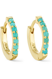 Jennifer Meyer Huggy 18-karat gold turquoise hoop earrings
