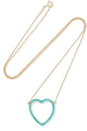 Open Heart 18-karat gold turquoise necklace