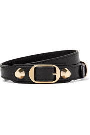 Balenciaga Arena textured-leather and gold-tone bracelet