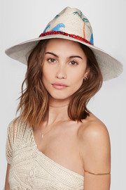 Beaded painted toquilla straw Panama hat