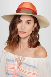 Aguacate grosgrain-trimmed toquilla straw hat