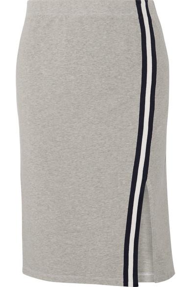 Splendid. Varsity Active striped stretch cotton and modal-blend jersey skirt