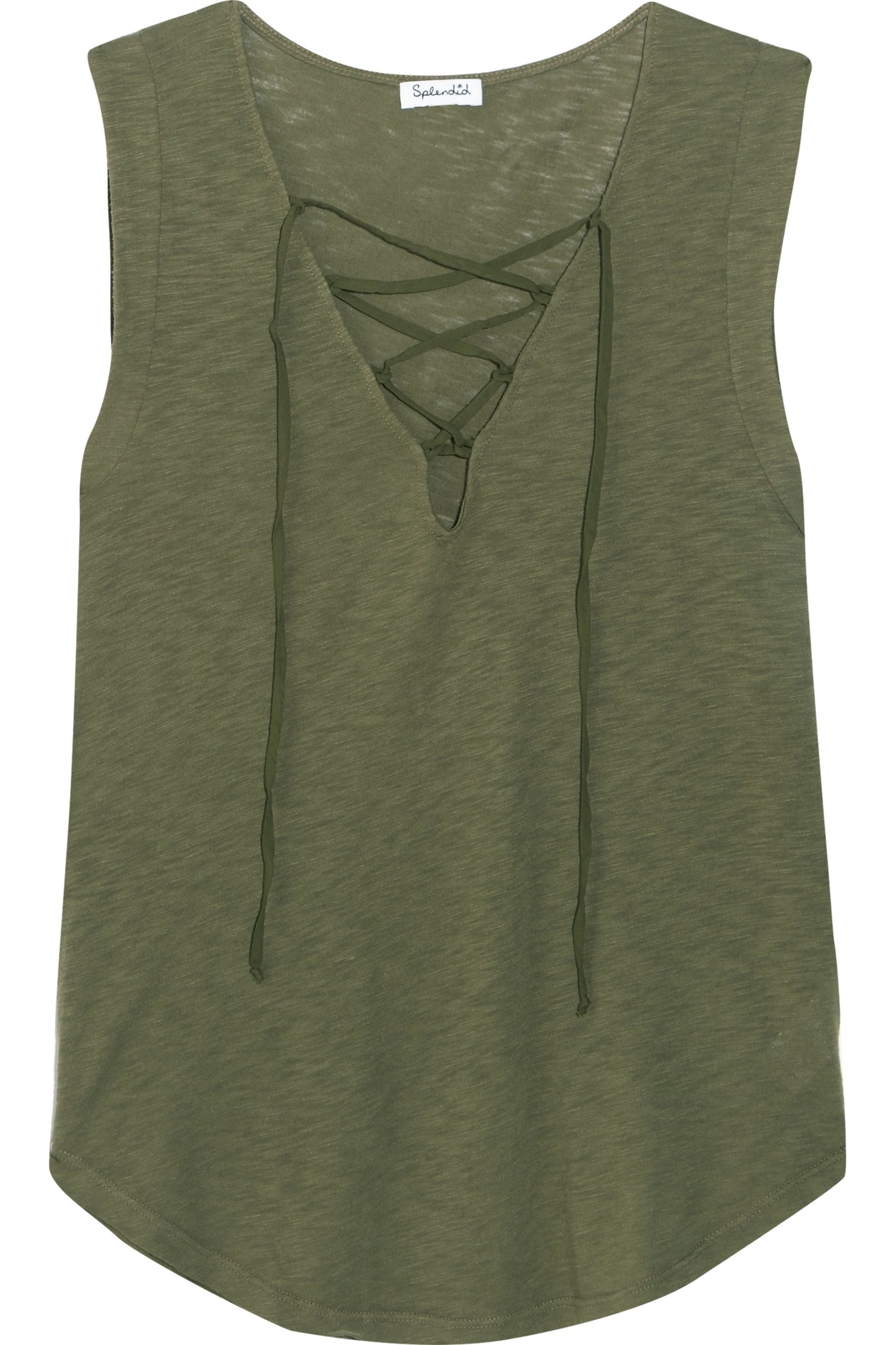 Splendid Lace-up Micro Modal and stretch Supima cotton-blend jersey top