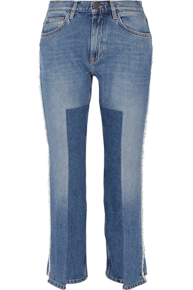 Jeanne cropped frayed straight-leg jeans