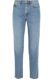 Linda embroidered high-rise straight-leg jeans