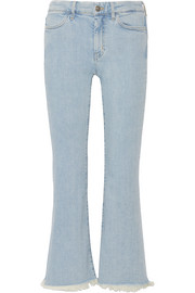 Lou cropped frayed high-rise flared jeans