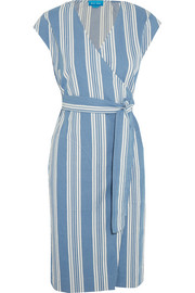 Frankie striped cotton-chambray wrap dress