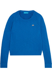 Embroidered slub cotton-jersey sweatshirt
