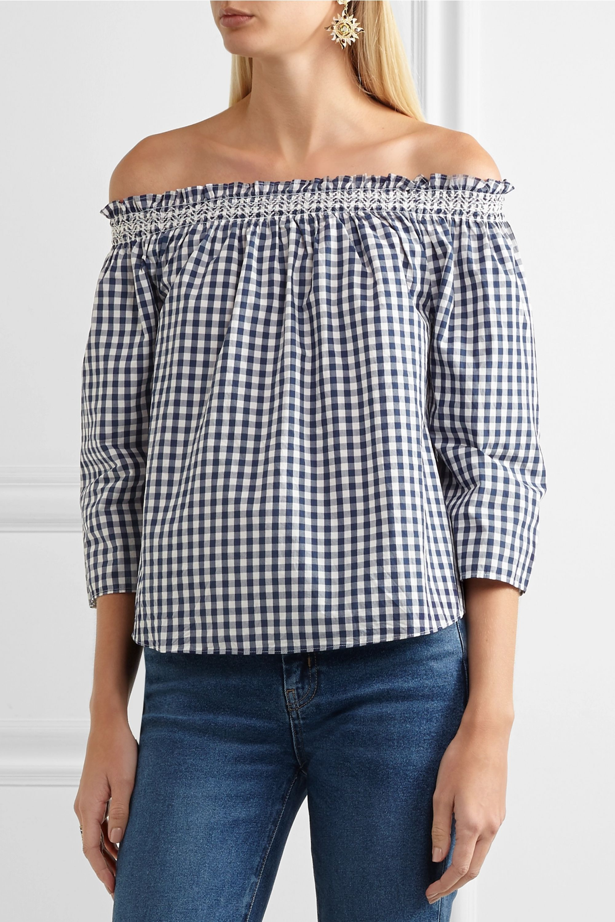 Madewell Off-the-shoulder shirred gingham cotton blouse