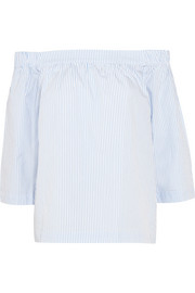 Off-the-shoulder striped cotton-poplin top