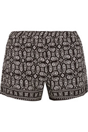 Foulard paisley-print voile shorts