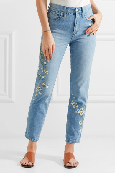 Madewell embroidered high rise straight leg jeans net