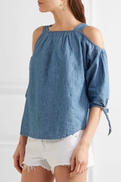 fbfbe2e51c9 Cold-shoulder linen and cotton-blend chambray top