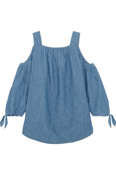 d0909dfda35 Madewell. Cold-shoulder linen and cotton-blend chambray top