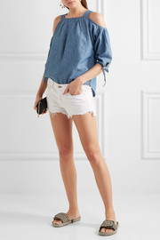 Cold-shoulder linen and cotton-blend chambray top