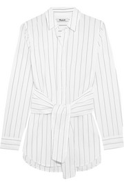 Tie-front pinstriped cotton shirt