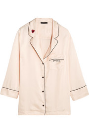 Jude embroidered satin pajama shirt