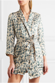 Ritz embroidered printed satin robe
