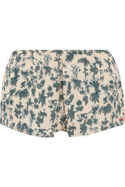 Blush printed satin pajama shorts