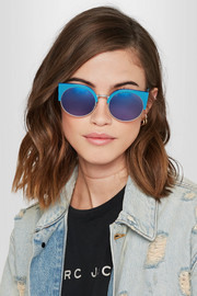 Ilaria cat-eye acetate and silver-tone mirrored sunglasses