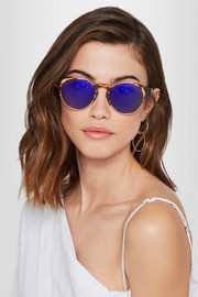 Arca round-frame acetate and gold-tone mirrored sunglasses