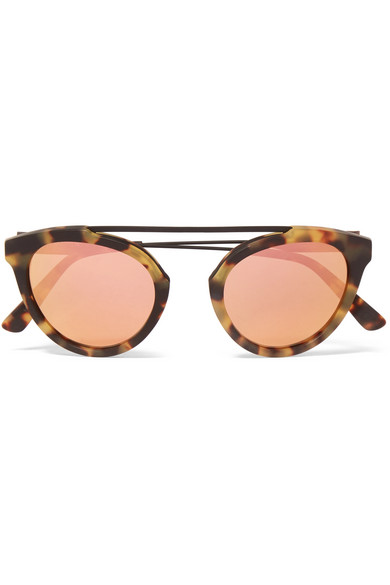 Westward Leaning x Olivia Palermo - Flower 13 Aviator-style Acetate And Metal Mirrored Sunglasses - Tortoiseshell