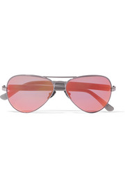 Concorde 14 aviator-style acetate and gunmetal-tone mirrored sunglasses