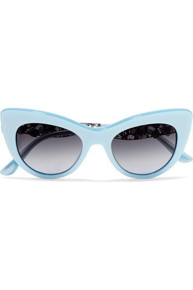 Cat-eye embellished acetate and silver-tone sunglasses
