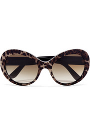 Cat-eye printed acetate sunglasses