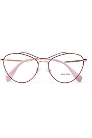 Cat-eye acetate and gold-tone optical glasses