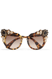 Miu Miu Crystal-embellished cat-eye acetate sunglasses