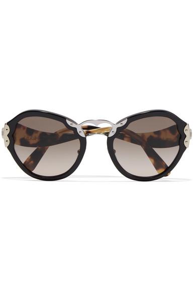 73f3514867bb Prada | Round-frame acetate and silver-tone sunglasses | NET-A ...