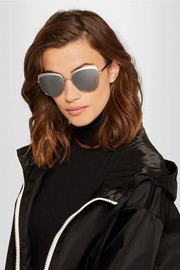 Cat-eye silver-tone mirrored sunglasses