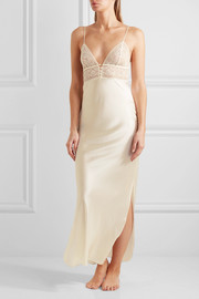 Ophelia Whispering stretch-Leavers lace and silk-blend satin chemise